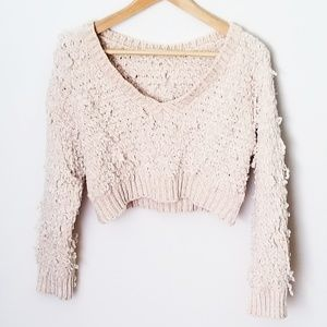 Blush pink cropped chenille v neck sweater